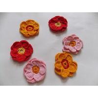 Цветы вязаные времен СССР 6 штук