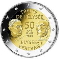 2 евро 2013 Германия J 50 лет подписания Елисейского договора UNC из ролла