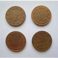1 евроцент Германия 2002 J, 2004 A, 2005 F, 2010 G.