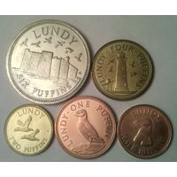 Остров ЛАНДИ годовой набор 2011 года-5 монет от 1/2 до 6 паффинов