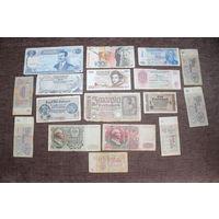 Банкноты, разные, 17 штук.