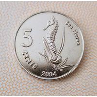 Кокосовые острова 2004 года 5 центов Морской конек