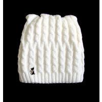 Белоснежная теплая зимняя шапка с котиком, новая
