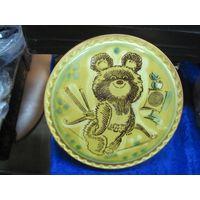 Олимпийский мишка. Настенная плакетка 15,5х1,5 см. Фарфор, Конаково.