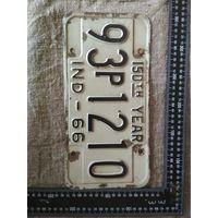 Винтажный американский автомобильный регистрационный номерной знак штат Индиана США 1966 год . Дизайн, декор, интерьер, коллекционирование, обмен.