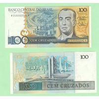 Банкнота Бразилия 100 крузадо (1986-88) UNC ПРЕСС