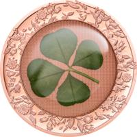 """Отличный подарок! Палау 5 долларов 2020г. """"Клевер: унция Удачи - Rose Gold"""". Монета в капсуле; подарочном мешочке; сертификат. СЕРЕБРО 31,135гр.(1 oz)."""