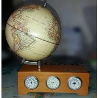 """Часы настольные, с гигрометром и термометром """"Глобус"""", интерьерные. + подарок. Дерево, металл"""