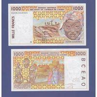 Банкнота Кот-дИвуар 1000 западноафриканских франков (BCEAO) 2002 UNC ПРЕСС