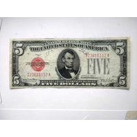 США 5 $ красная печать 1928 F