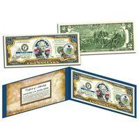 2 доллара PENNSYLVANIA (2-ой штат США ) цветные UNC (цветные в футляре с цветным сертификатом) UNC