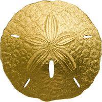 """Палау 1 доллар 2017г. """"Песочный доллар"""". Монета в капсуле; сертификат. ЗОЛОТО 1гр."""