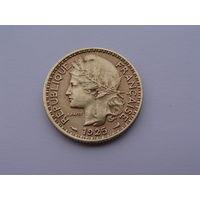 Французский Камерун. 1 франк 1925 год KM#2 Нечастая!!! Монета не чищена!!!