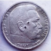 "РАСПРОДАЖА!!! - ГЕРМАНИЯ 5 марок 1935 год ""ПАУЛЬ фон ГИНДЕНБУРГ"" (серебро)"