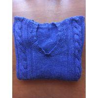 Детская новая блестящая светящаяся синяя с фиолетовым отливом шерстяная вязаная с длинными рукавами с красивым узором-косой кофта для девочки от 12 до 14 лет