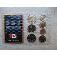 2 доллара 1 доллар 50 25 10 5 центов 1 цент Канада Unc, 7 монет, позолоченные 24 карата, сертификат
