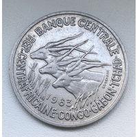 50 франков 1963 год Экваториальные Африканские Штаты Конго, Габон, Чад.
