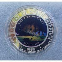Сомали, 250 шиллингов, 1998 г. Корабли. Гибель Титаника. Proof. Серебро