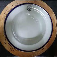 Масонская ложа. Суповая тарелка, кобальт, позолота. Диаметр 24,5 см. Англия.