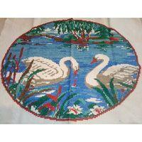 Вышивка Лебеди 60-е панно 33х27 см