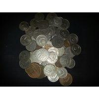 Лот советстких монет. Советские монеты - 73 штуки, медно-никелевый сплав