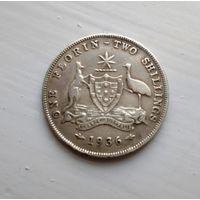 Австралия 1 флорин=2 шиллинга 1936 г Георг V серебро