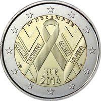 2 евро 2014 Франция день борьбы со СПИДом UNC из ролла
