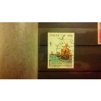 Транспорт, корабли, парусники, флот, фауна, птицы, чайки, марка, Италия 1992