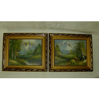 Пейзаж.  2 Картины . Масло. Холст. 28 х 33 см. Винтаж. N 1