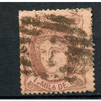 Испания (Временное правительство) - 1870 - Аллегория Испания 1M - [Mi.96a] - 1 марка. Гашеная.  (Лот 111o)