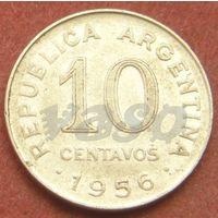 6356: 10 сентаво 1956 Аргентина КМ# 51 никель