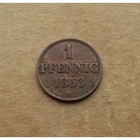 Ганновер (королевство), 1 пфенниг 1853 г.