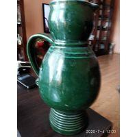Большой кувшин зелёного цвета обливная керамика СССР.