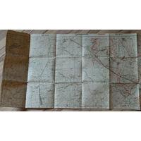 Большая двойная немецкая карта по ПМВ 1916г Ляховичи (Брестская обл.).
