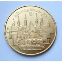 "Памятная красивая медаль ""Мне нравится Гамбург"" - 60мм."