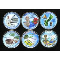 США 2009 набор ЦВЕТНЫХ КВОТЕРОВ ( 25 центов ) 6шт UNC