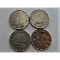 Багамские острова 25 центов 1969, 1977, 2000 и 2015