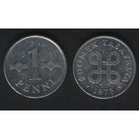 Финляндия km44a 1 пенни 1975 год (h01)