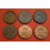 РАСПРОДАЖА!!! Лот из 6-ти 1-центовых монет США (1941-2005 гг.)