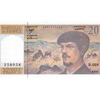 Франция, 20 франков (Дебюсси), 1990 г. UNC-