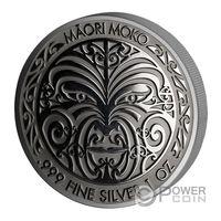 "Токелау 5 долларов 2017г. ""Маори Моко Арт"". Рутений.  Монета в капсуле; подарочной футляре; сертификат; коробка. СЕРЕБРО 31,135гр.(1 oz)."