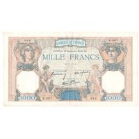 Франция 1000 франков 1938 года. Дата 22 сентября. Редкая! Состояние VF+!