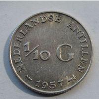Антилы, 1\10 гульдена, 1957, серебро