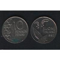 Финляндия km65 10 пенни 1992 год (M) (f32)(b04)n*