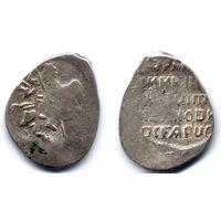 Копейка, Россия, Лжедмитрий I, Псков. Ав - всадник архаичный. Из-за высокого веса эту монету раньше относили к Лжедмитрию II. Редкая!