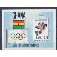 [1735] Гана 1984. Спорт.Олимпиада.Футбол. БЛОК.