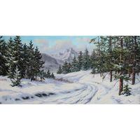 Картина маслом 57 зимняя дорога  50х100