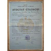 Аттестат зрелости. (Атэстат сталасцi) 1955 г. Минск. 11 школа рабочей молодежи.