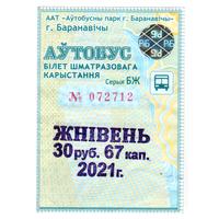 Проездной Барановичи август 2021