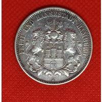 Монета 3 марки 1909 года. Германия. Гамбург. Серебро.